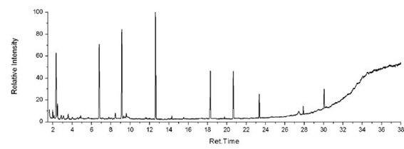 Imagem de um espectro gerado através de uma análise de Cromatografia Gasosa