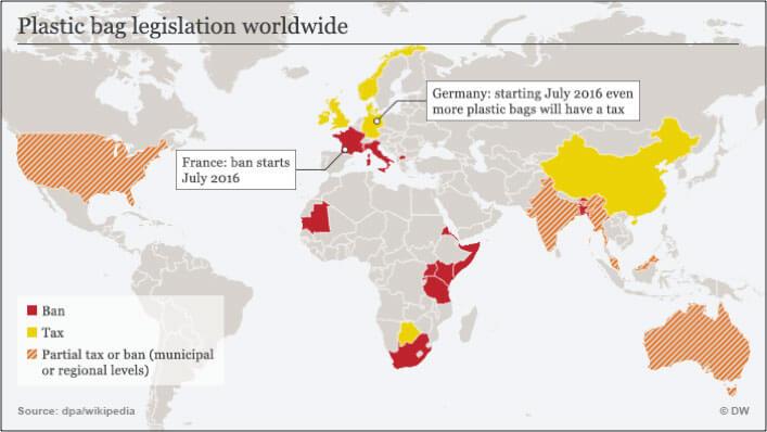 Mapa com países que proibiram sacolas plásticas