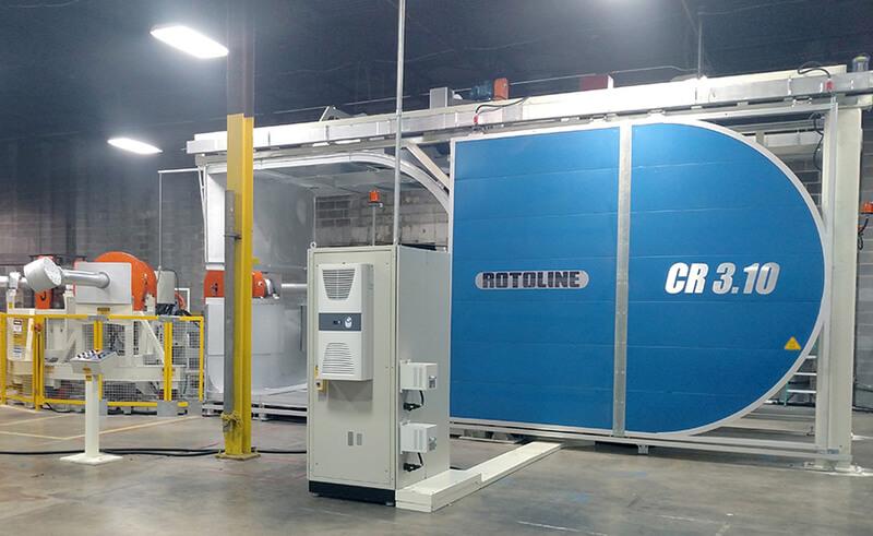 Máquina para rotomoldagem da Rotoline. Fonte: Rotoline