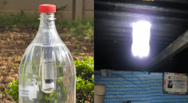 Projeto Lightie que utiliza garrafa pet para iluminação